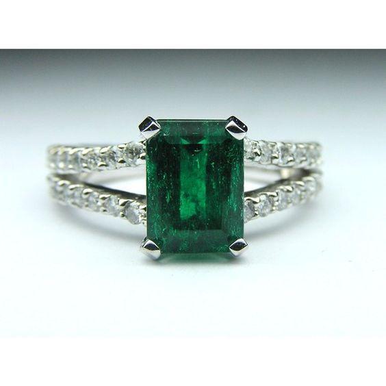 European Engagement Ring – Genuine Green Emerald Gem Stone Diamond… ($2,298) ❤…