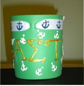 Sorority Craft Ideas, Cute Sorority Crafts, Alpha Sigma Tau, Anchor Koozie, Little Crafts