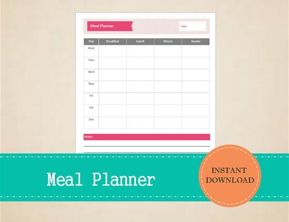 Weekly Meal Planner  Meal Planner  Meal by MBucherConsulting