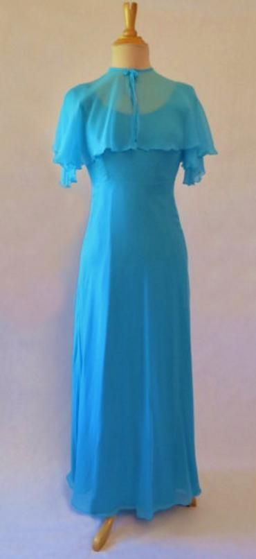 1970s vintage dress blue formal maxi chiffon with cape 1970s fashion pinterest