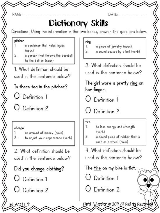 Dictionary Skills Freebie Second Grade Shenanigans - ELAR