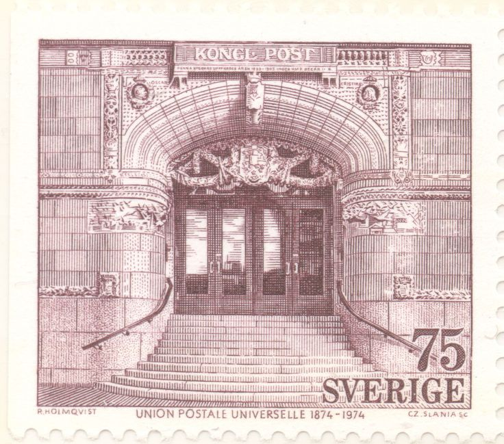"Sweden 75ö ""Universal Postal Union centenary"" 1974. Czeslaw Slania sc."