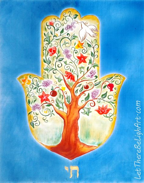 Hamsa Tree of Life (Eitz Chaim), 8x10 inch, egg-tempera-painting workshop, Flensburg, Germany, Fall 2016.