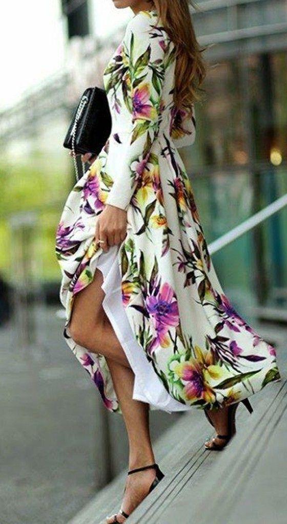 White Floral Print Long Sleeve Fashion Maxi Dress