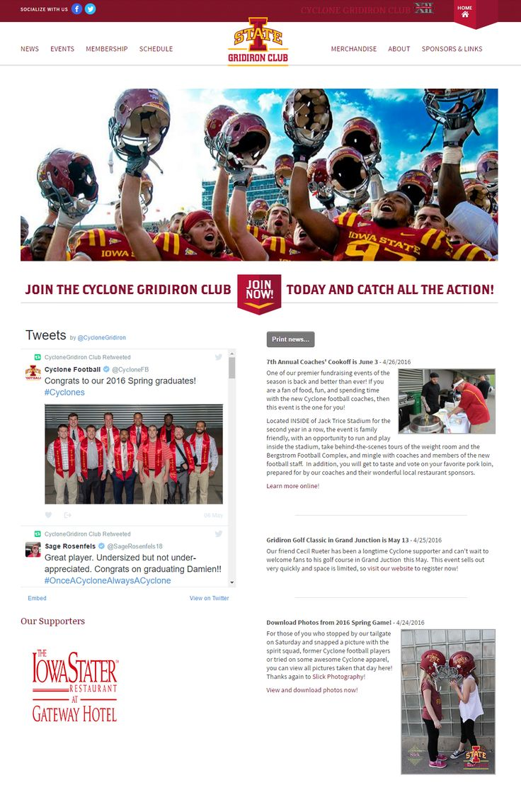 CYCLONE GRIDIRON CLUB - The first thing you will notice on their site are the rotating photos of their various activities and the dazzling smiles of their members, sponsors and people who have made an important contribution to the club. The social media links are visible on the topmost area of the site. There are also dedicated pages for sponsors and club merchandise that help fund the projects of Cyclone Gridiron Club. http://cyclonegridironclub.com/