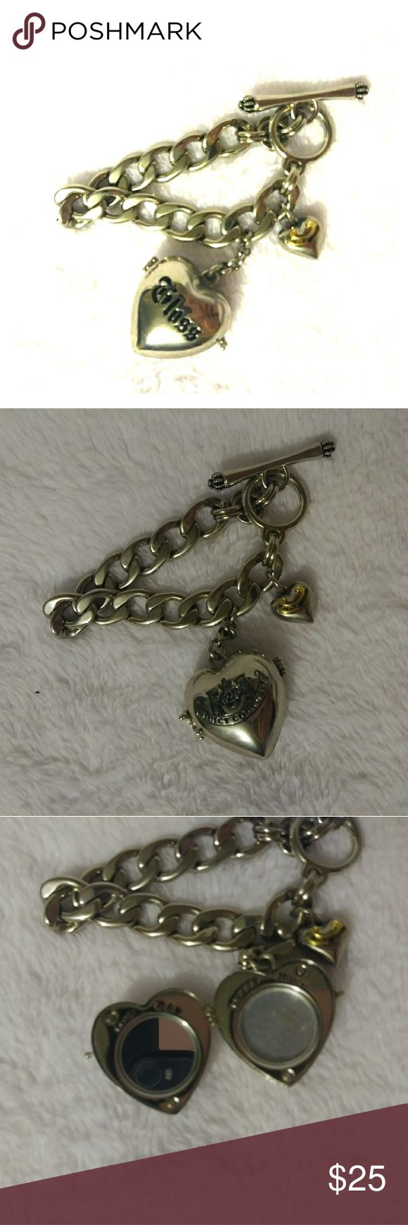 Rare Juicy Couture locket charm bracelet! EUC Juicy Couture lip gloss locket bracelet. Silver in color and has a clasp that keeps the locket closed as well as magnets. Mirror side is in excellent shape and you can purchase lip gloss refills on places like Etsy. Could also be used to store a cute photo! No wear or tear or discoloration. Juicy Couture Jewelry Bracelets