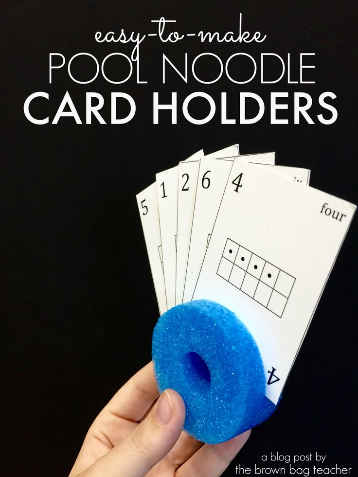 GENIUS cardholders made out of pool noodles. So easy and so cheap! Perfect for math center.