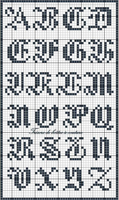 Sajou 3 gothic script alphabet chart for cross stitch and needlepoint