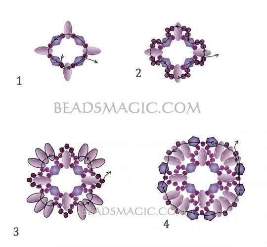 Free pattern for earrings Dulce 2/3 súper dúo o granos de la semilla gemelas  Tupis de cristal de 4 mm  granos de la semilla 11/0