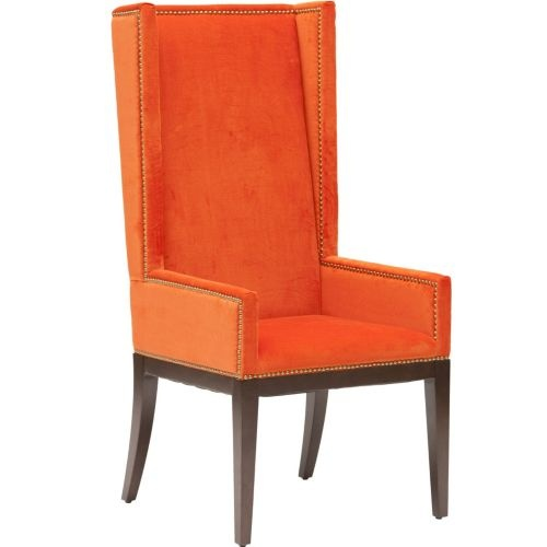 Two of my favorite words: orange and velvet!  This would make a perfect captain's chair at my new dining table.