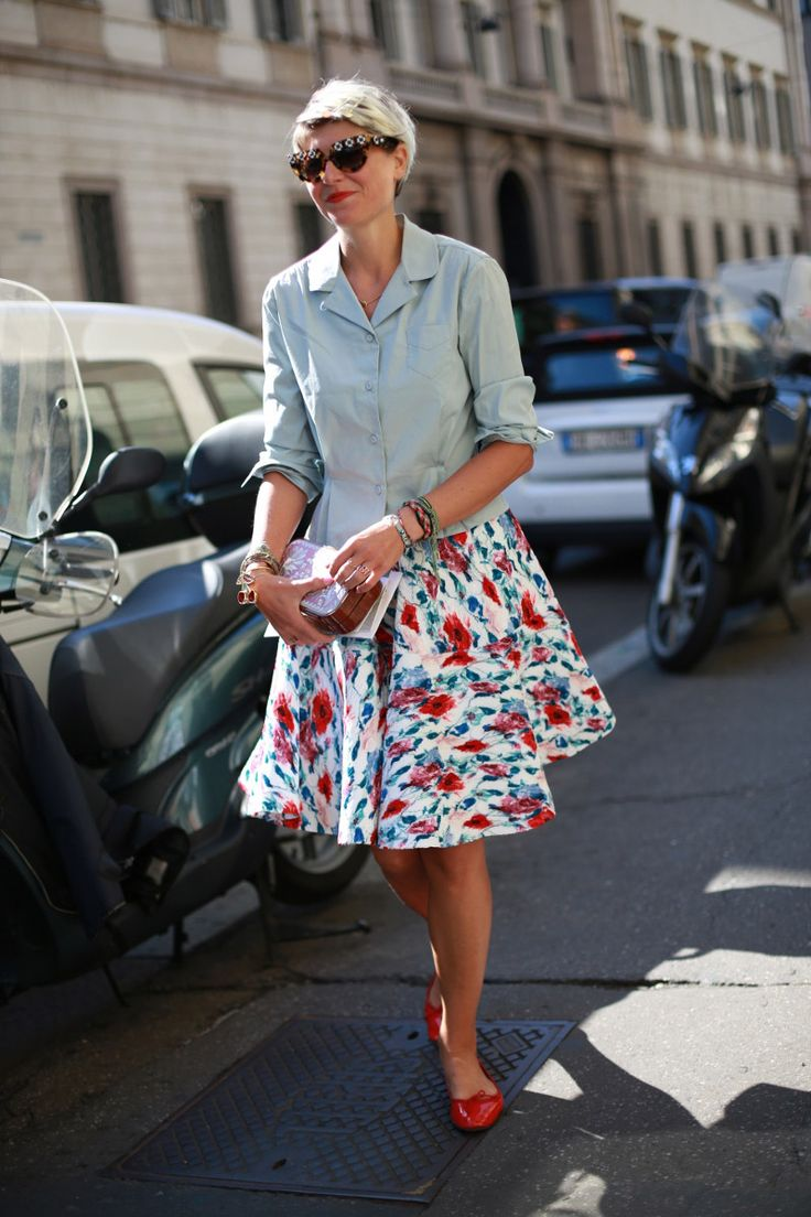 Elisa in Milan - love the hair style and outfit with Katrin Langer clutch