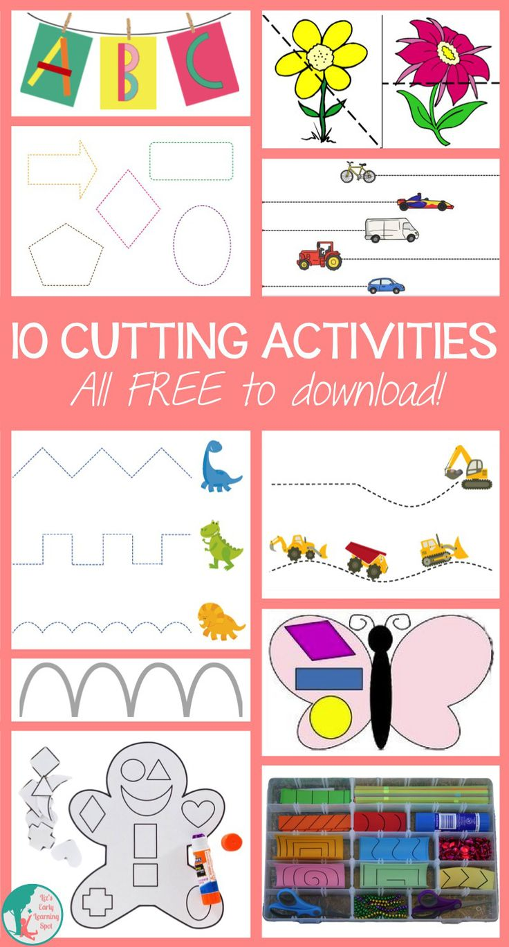 10 FREE Cutting Activities for Kids. Great for building fine motor skills.