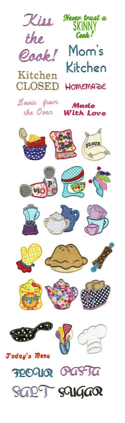 Kitchen Stitchin Applique design set is available for Instant Download at designsbyjuju.com
