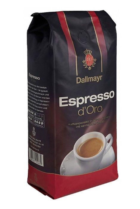 KAWA DALLMAYR Espresso d'Oro Kawa ziarnista 1kg Pyszna złotobrązowa pianka, idealna do espresso, cappuccino i latte macchiato, mieszanka najlepszych gatunków arabik, niezwykły aksamitny smak