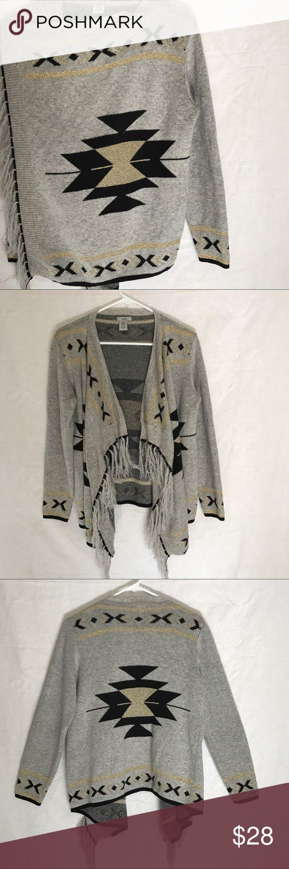 Anthropology Escio Cardigan Tribal W/ Fringe gray Beautiful Anthro Cardigan. Tribal black and gold pattern all over with fringe. Super soft!! Like New! Anthropologie Sweaters Cardigans