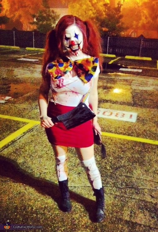 Courtney: My boyfriend and I decided to be evil killer clowns! The makeup took about 3 hours! We used prosthetics on our face to reshape them!. Photo 3 of 5.