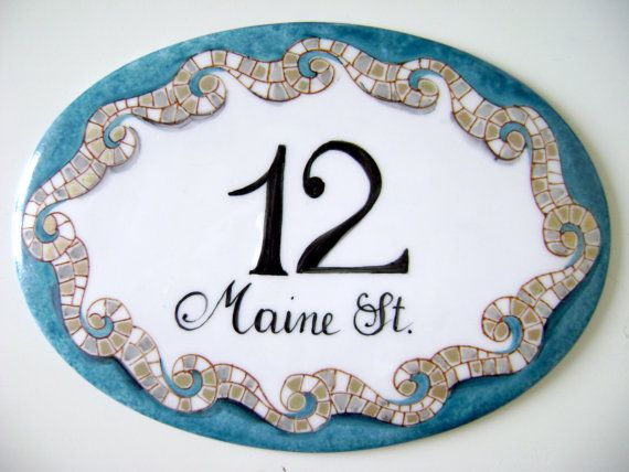 Address plaque hand painted on porcelain, mosaic decoration. House sign, house number, customizable.