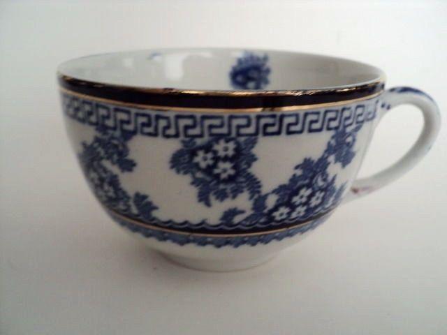 blue white transferware cup Greek key flowblue antique England #Victorian