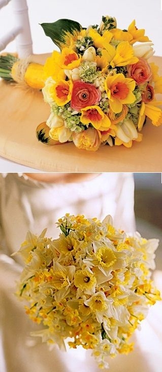 daffodil bouquet spring wedding - could use with tulips, peonies, forsythia, lily of the valley etc