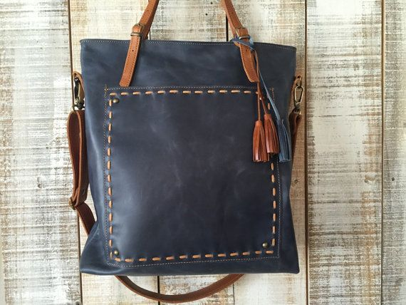 Hey, I found this really awesome Etsy listing at https://www.etsy.com/listing/228614845/blue-leather-tote-laptop-tote-bag-large