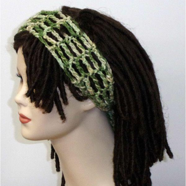 Green Tones Dread Headband Dreadband Head Hair Band Wrap Scarf Hippie... ($9) ❤ liked on Polyvore featuring accessories, hair accessories, dark olive, headbands & turbans, headband bandana, hippie hair accessories, head wrap headband, green headband and turban knot headband