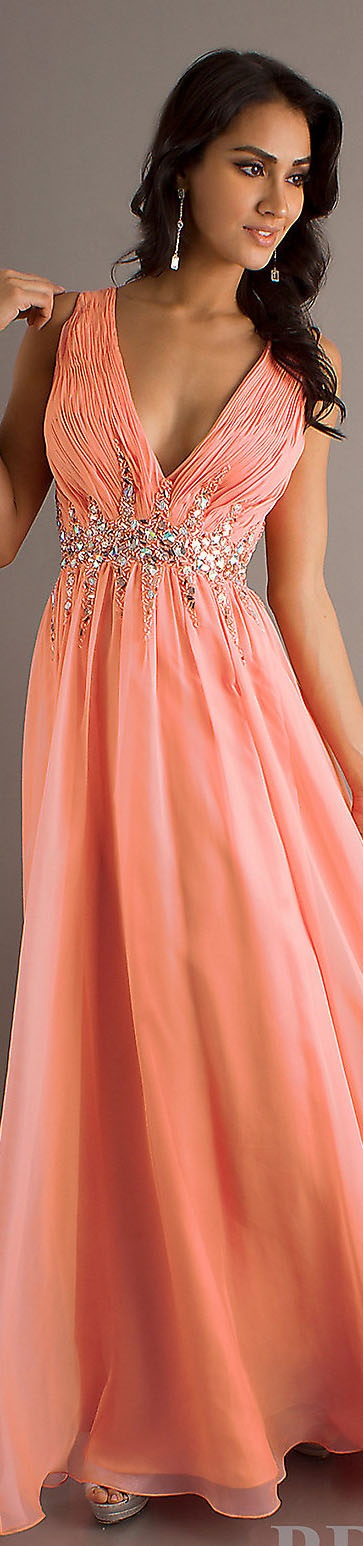 Coral long dress with baubles and sequins
