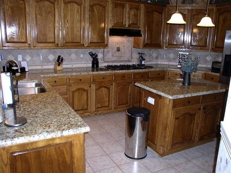 Oak Kitchen Cabinets With Granite Countertops : Kitchen remodel oak cabinets with granite