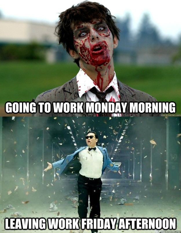 8de090a980137a5753db9025f04da021 work humour work funnies going to work on monday vs leaving work on friday funny bone,Leaving Work On Friday Like Meme