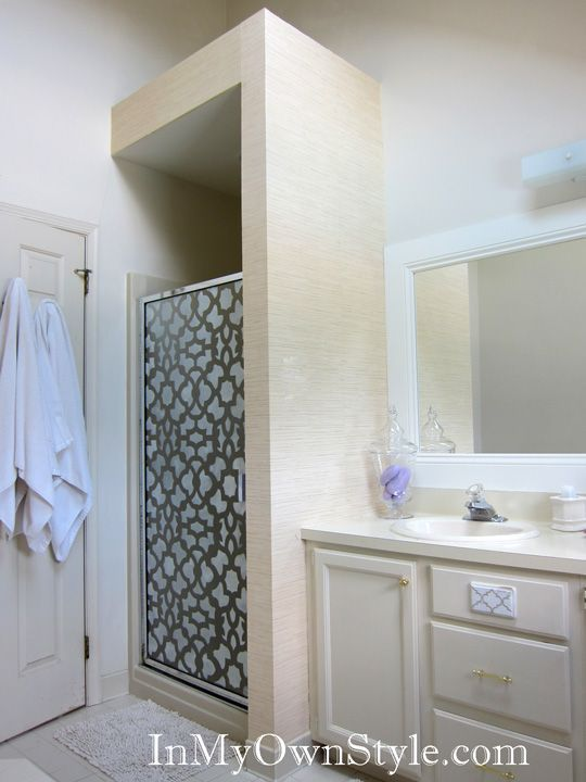 How to stencil shower doors with a cutting edge stencil for Bathroom stencils designs