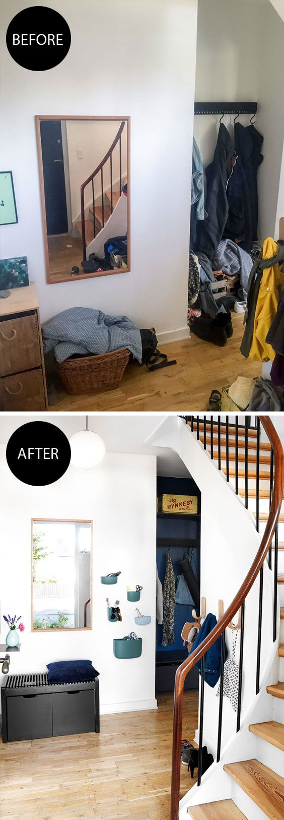 Entryway makeover - from messy to smart storage and modern look.