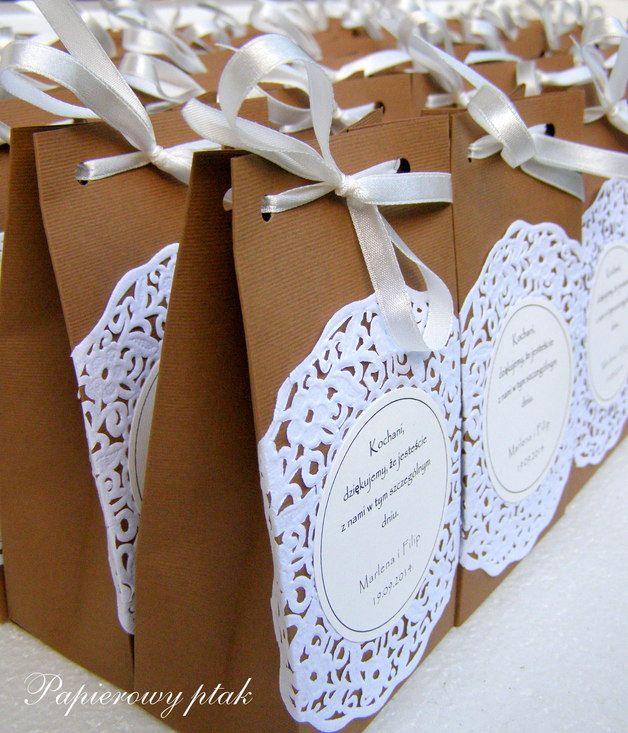 Podziękowania dla gości - torebka - Papierowy-ptak - Prezenty dla gości