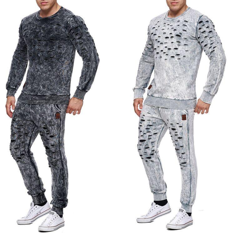Herren Destroyed Risse Jogginganzug Jogging Hose Jacke Sportanzug Sporthose  | eBay
