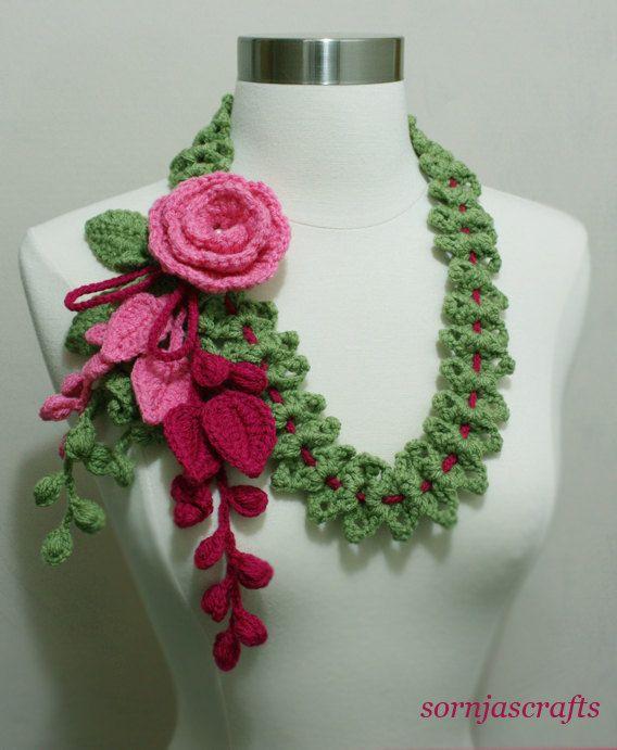 Unique Crochet Multi-Color Lettuce Green Magenta Bubble Gum Pink  Necklace Scarf