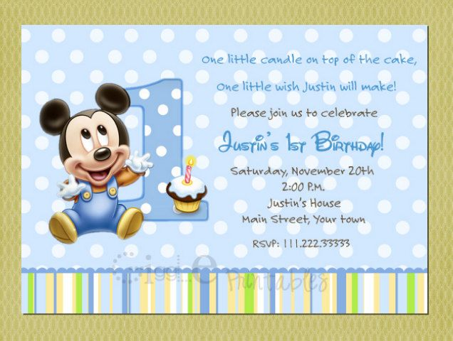 8 best Edziel images – Baby Mickey First Birthday Invitations