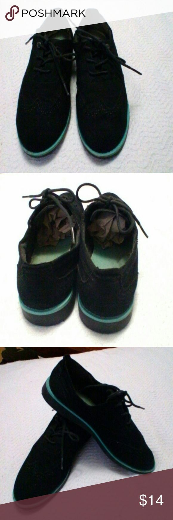 Suede oxford shoe Black suede oxford/loafer with turquoise at sole, gently used, good condition. Cute with jeans or skirt. Nautica Shoes Flats & Loafers #loafersoxford