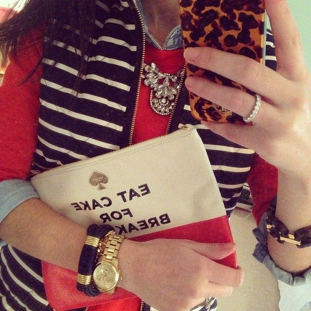 Stripe Jcrew vest, red sweater, orange, chambray, Jcrew necklace
