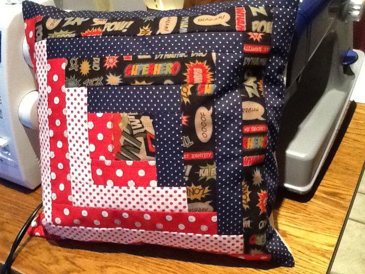 Oh I'm loving my sewing machine.... Superhero log cabin cushion made for my nephew.