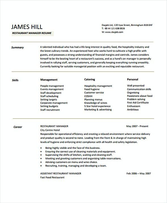 restaurant manager resume sample   restaurant manager