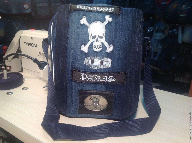 Купить HandMade Сумка через плечо из джинсов WAGGON - голубой, джинсовый стиль, джинс, джинса