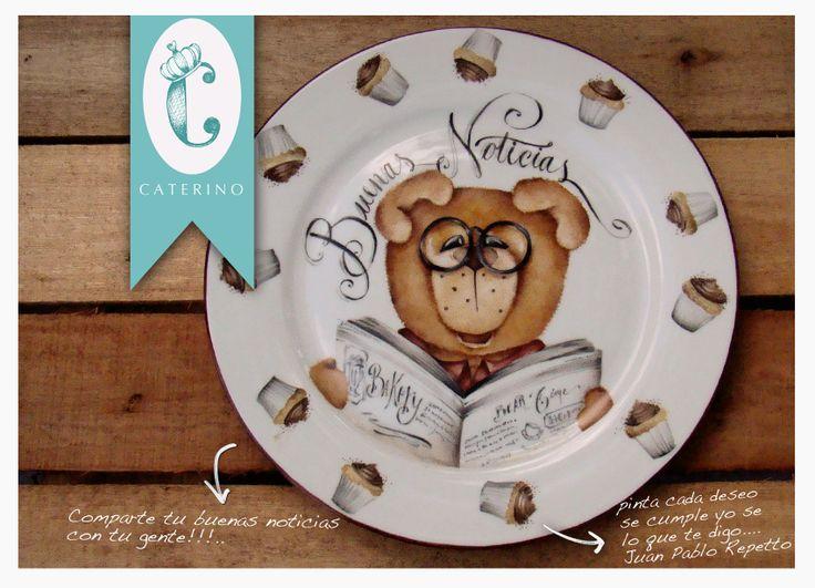 Porcelana, patisserie, muffins, bear, Porcelana pintada a mano por Juan Pablo Repetto
