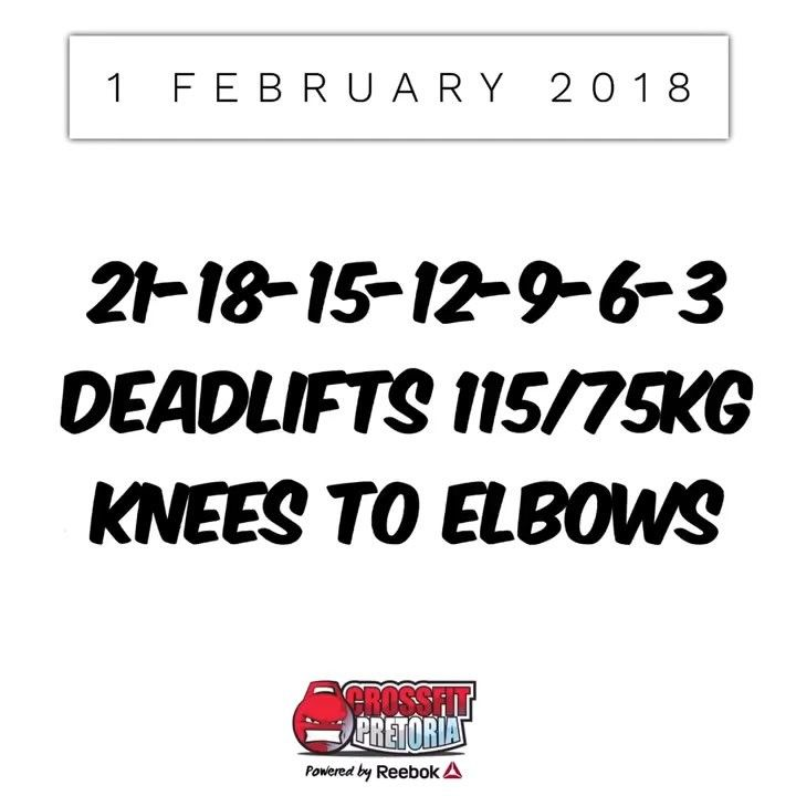Thursday 1 February 2018  For time: 21-18-15-12-9-6-3  Less experienced athletes: Consider taking the reps down as well as the load on the deadlifts.  Experienced athletes:  Go fast and make sure to take short breaks to avoid the grip strength fatiguing.  #crossfit #pretoria #crossfitpretoria #workoutoftheday #wod #thursday #weightlifting #gymnastics #deadlift #kneestoelbows #crossfitwod #crossfitsouthafrica #fitness #health #technique #mechanics #fun #reebok #reeboksa #bebetter  #pretoria