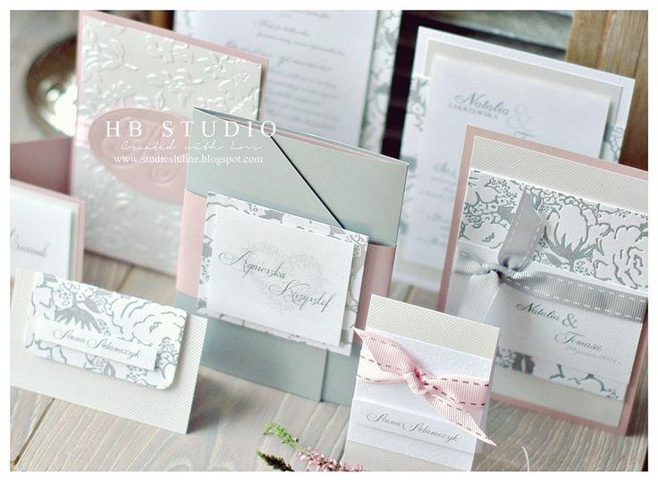 Srebro i róż zaproszenia ślubne wedding invitation