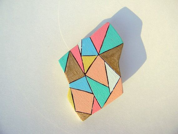 Blue And Yellow Wallpaper Non Woven Wallpaper Triangles: Geometric Triangle Wooden Brooch