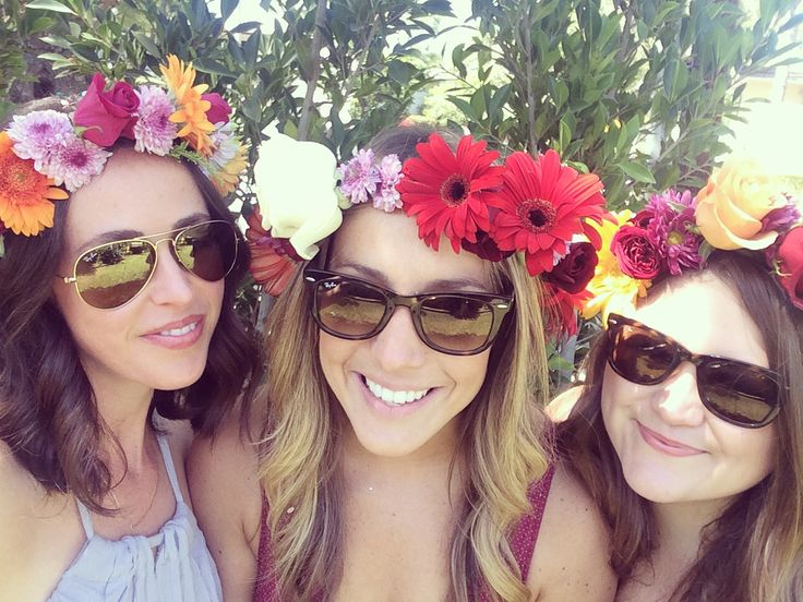 Homemade flower crowns with the girls