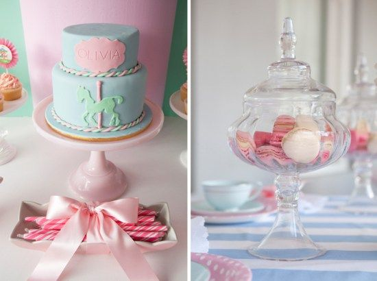Sharnel ofMy Life My Loves threw a Mary Poppins Tea Party for her daughter Olivia's 7th birthday (we posted pictures from her 5th birthday partyhere). The focal point of the party was a fabulous Victorian carousel dessert table Sharnel made with the help of a carpenter. Isn't that fabulous? Atop the table was a pink …
