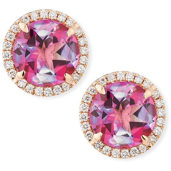 Frederic Sage 18K Rose Gold Pink Topaz Diamond Halo Stud Earrings ($1,495) ❤ liked on Polyvore featuring jewelry, earrings, rose gold jewellery, earring jewelry, 18k jewelry, 18k rose gold jewelry and halo diamond earrings