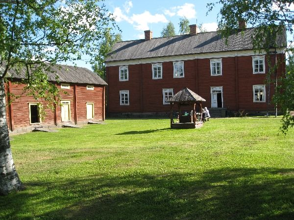 Typical and historical houses and yard in western Finland. These houses are in Ilmajoki.