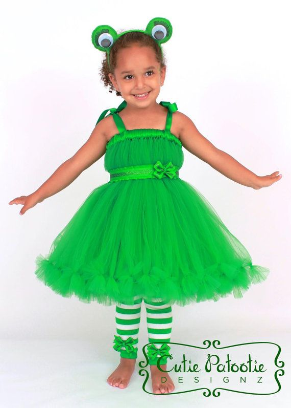 Petti Tutu Dress - Green Frog -  Enchanted Toad Costume by Cutiepatootiedesignz