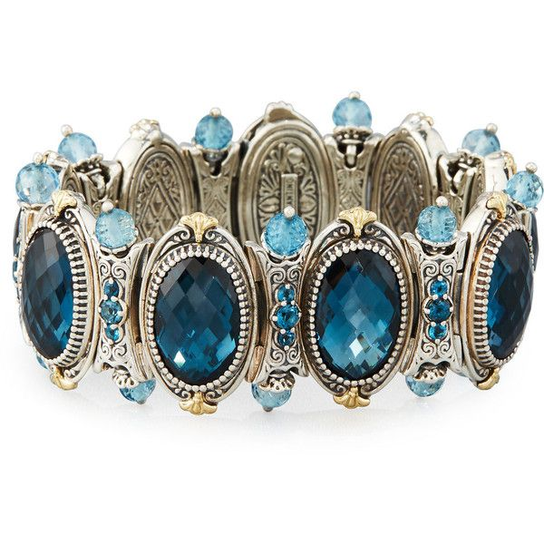 Konstantino London Blue Topaz Beaded Station Bracelet ($4,148) ❤ liked on Polyvore featuring jewelry, bracelets, blue, konstantino, 18k bangle, beading jewelry, london blue topaz jewelry and konstantino jewelry