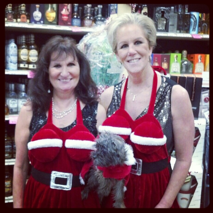 the lovely ladies at our nearest liquor store sporting their busty aprons.